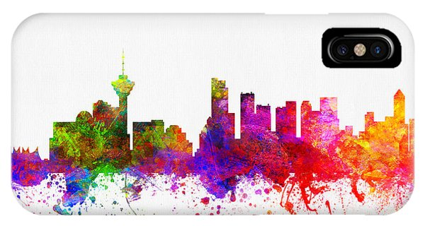 Vancouver City iPhone Case - Vancouver British Columbia Skyline Color02 by Aged Pixel