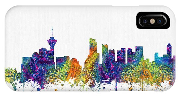 Vancouver City iPhone Case - Vancouver British Columbia Skyline Color03 by Aged Pixel