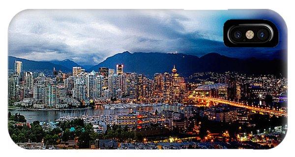 Vancouver Skyline iPhone Case - Vancouver Skyline - 4 Hours by Martin Krzywinski