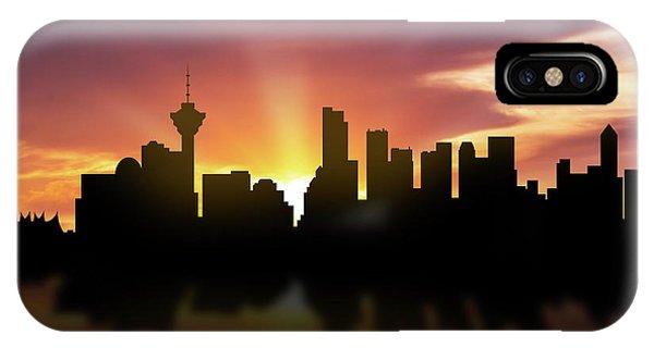 Vancouver Skyline iPhone Case - Vancouver Skyline Sunset Cabcva22 by Aged Pixel