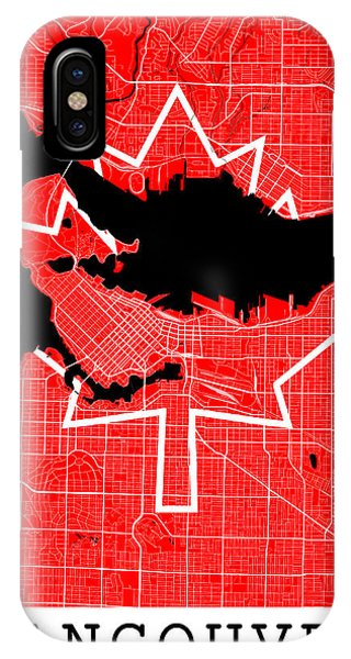 Vancouver City iPhone Case - Vancouver Street Map - Vancouver Canada Road Map Art On Canada Flag Symbols by Jurq Studio