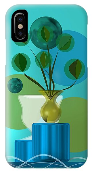 Vase With Bouquet Over Blue IPhone Case