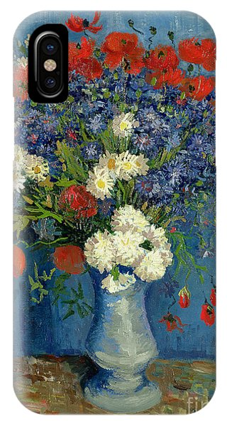 Colourful iPhone Case - Vase With Cornflowers And Poppies by Vincent Van Gogh