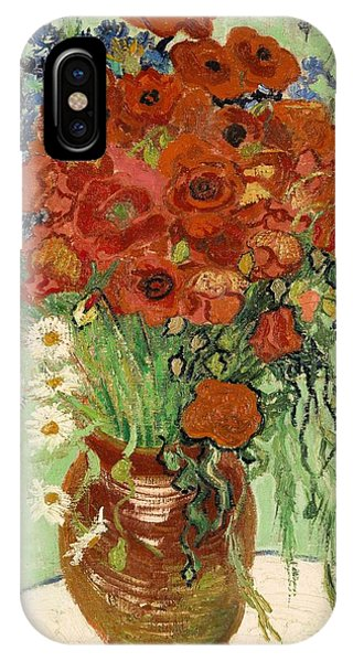 IPhone Case featuring the painting Vase With Daisies And Poppies by Van Gogh
