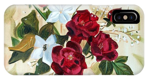 iPhone Case - Vase With Red And White Flowers by RB McGrath