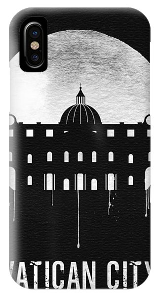Italy iPhone Case - Vatican City Landmark Black by Naxart Studio