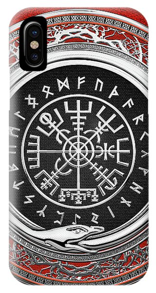 Vegvisir - A Silver Magic Viking Runic Compass On Red Leather  IPhone Case