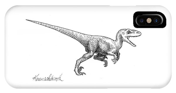 Dinosaur iPhone Case - Velociraptor - Dinosaur Black And White Ink Drawing by Karen Whitworth