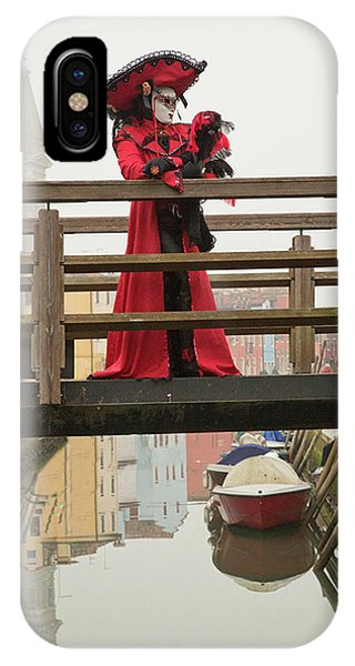 Venetian Lady On Bridge In Burano IPhone Case