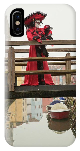 Venetian Lady On Bridge In Burano IPhone Case