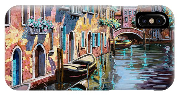 Docked Boats iPhone Case - Venezia In Rosa by Guido Borelli