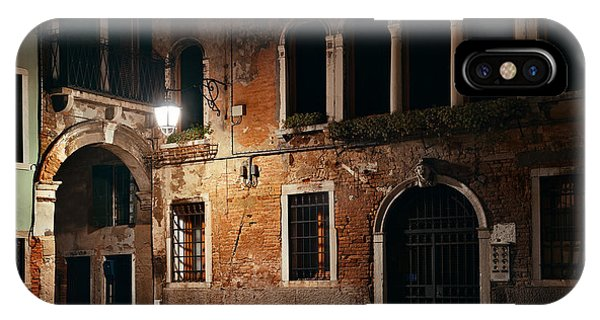 IPhone Case featuring the photograph Venice Alley At Night by Songquan Deng