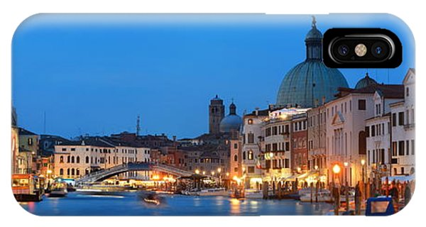 IPhone Case featuring the photograph Venice Canal Night Panorama by Songquan Deng