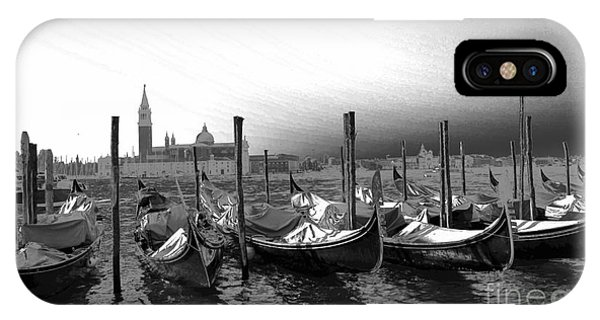Venice Gondolas Black And White IPhone Case