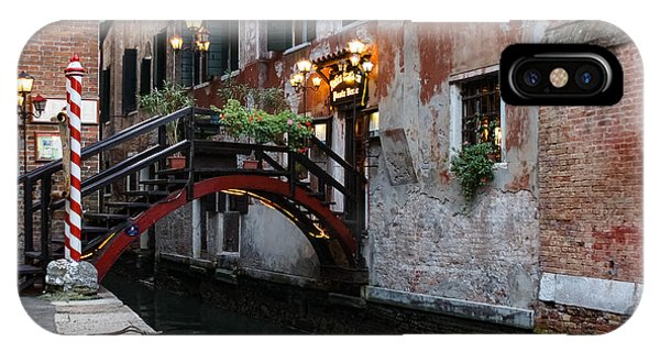 Venice Italy - The Cheerful Christmassy Restaurant Entrance Bridge IPhone Case