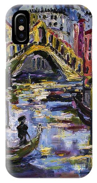 Venice Rialto Bridge Gondolier Oil Painting  IPhone Case