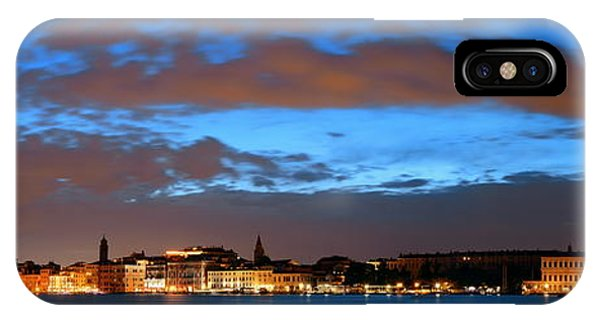 IPhone Case featuring the photograph Venice Skyline Night Panorama View by Songquan Deng
