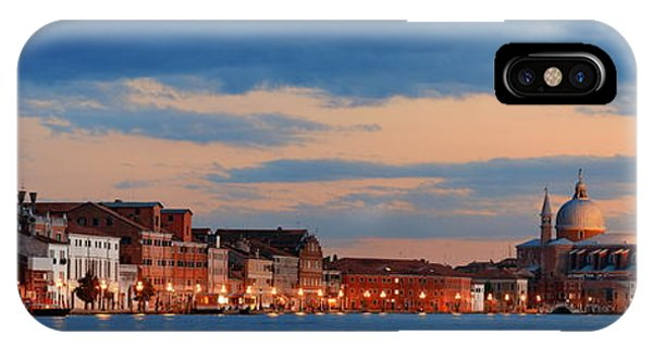 IPhone Case featuring the photograph Venice Skyline Panorama At Night by Songquan Deng