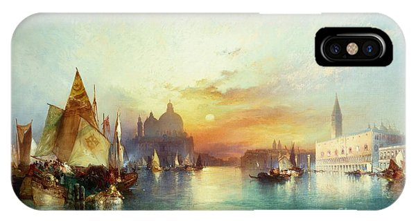 Docked Boats iPhone Case - Venice by Thomas Moran