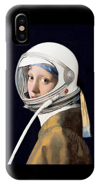 IPhone Case featuring the digital art Vermeer - Girl In A Space Helmet by Richard Reeve