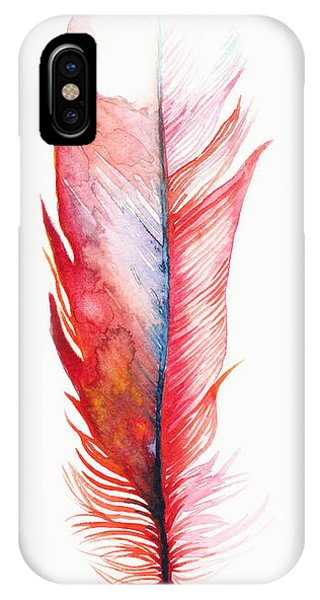 Feathers iPhone Case - Vermilion Feather by Willow Heath