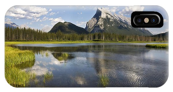 Vermillion Lake And Sulpher Mountain IPhone Case