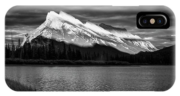 Treeline iPhone Case - Vermillion Lakes And Mt Rundle Bw by Joan Carroll