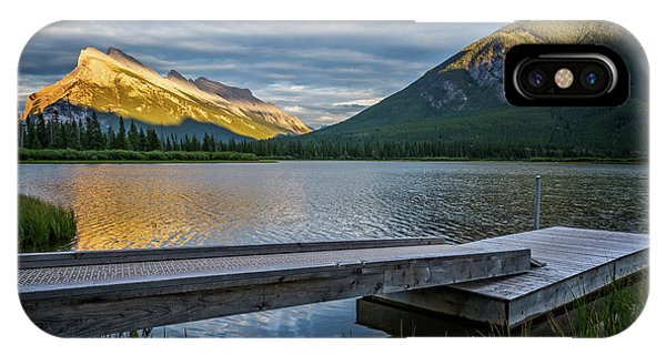 Treeline iPhone Case - Vermillion Lakes And Mt Rundle Sunset by Joan Carroll