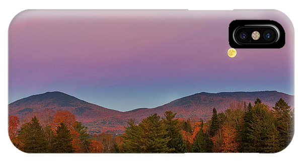 Vermont Fall, Full Moon And Belt Of Venus IPhone Case