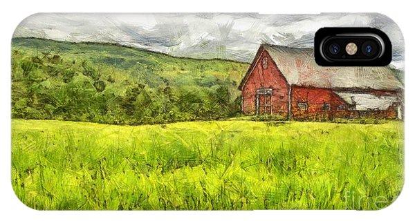 New England Barn iPhone Case - Vermont Farm Landscape Pencil by Edward Fielding