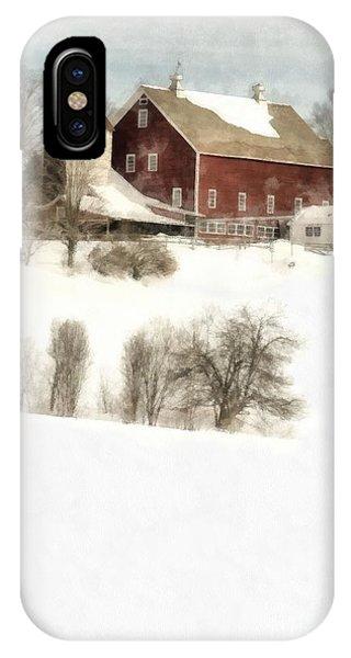 New England Barn iPhone Case - Vermont Jenne Farm Winter  by Edward Fielding