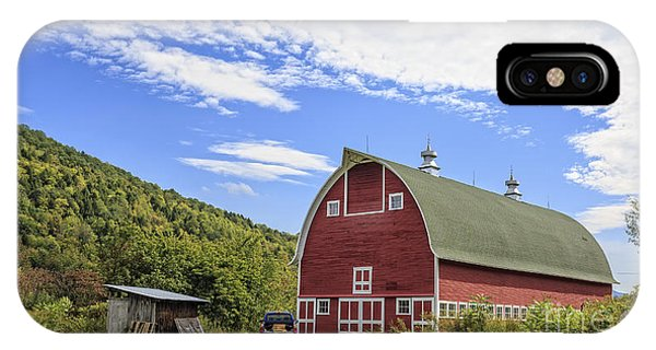 New England Barn iPhone Case - Vermont Red Barn Route 5 by Edward Fielding