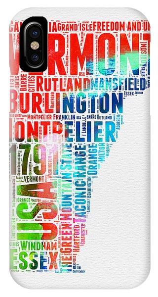 Typography iPhone Case - Vermont Watercolor Word Cloud  by Naxart Studio