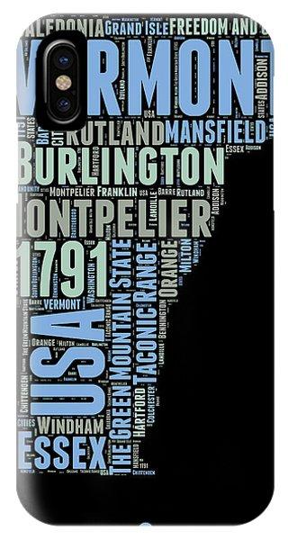 Typography iPhone Case - Vermont Word Cloud 1 by Naxart Studio