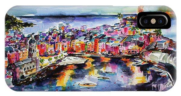 Vernazza Twilight Cinque Terre Watercolors IPhone Case
