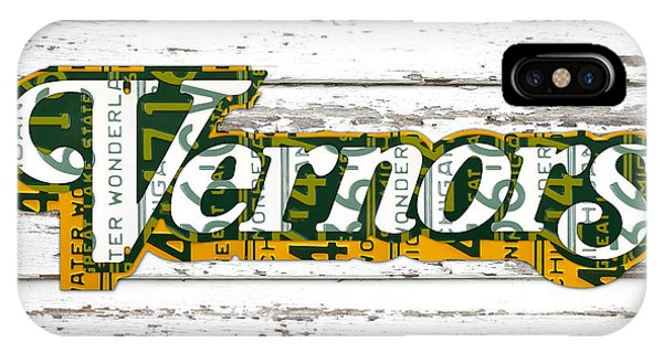 Vernors Beverage Company Recycled Michigan License Plate Art On Old White Barn Wood IPhone Case