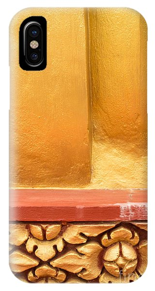Vertical Abstract View Of Golden Section Of Buddhist Pagoda With Gold Floral Trim Below IPhone Case