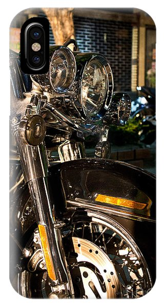 Vertical Front View Of Fat Cruiser Motorcycle With Chrome Fork A IPhone Case