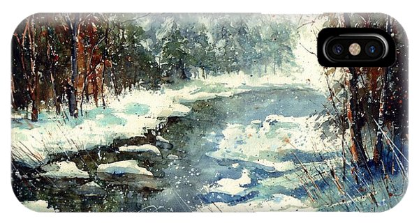 Village iPhone Case - Very Cold Winter Watercolor by Suzann Sines