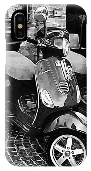 Vespa Twins Black And White IPhone Case