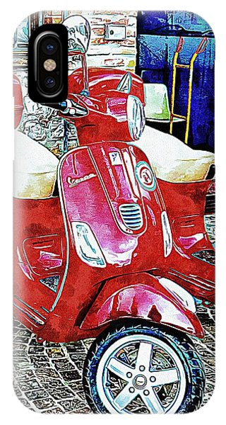 Vespa Twins Red IPhone Case