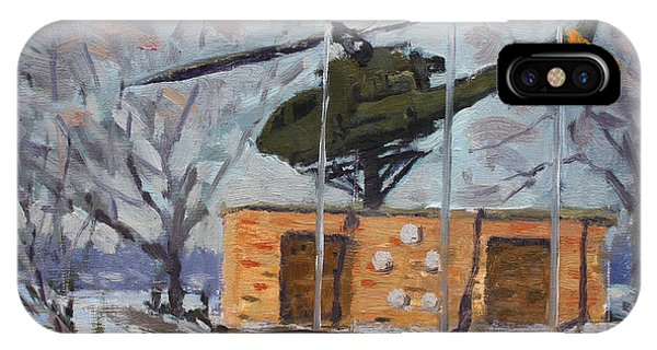 Helicopter iPhone Case - Veterans Memorial Park In Tonawanda by Ylli Haruni