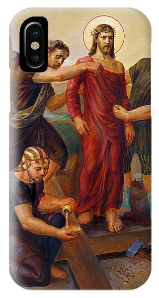 Christian Cross iPhone Case - Via Dolorosa - Disrobing Of Christ - 10 by Svitozar Nenyuk