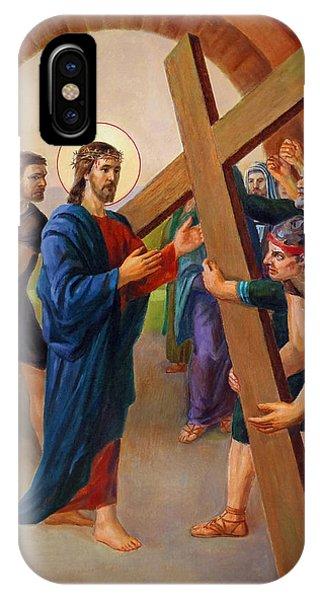 Christian Cross iPhone Case - Via Dolorosa - Jesus Takes Up His Cross - 2 by Svitozar Nenyuk