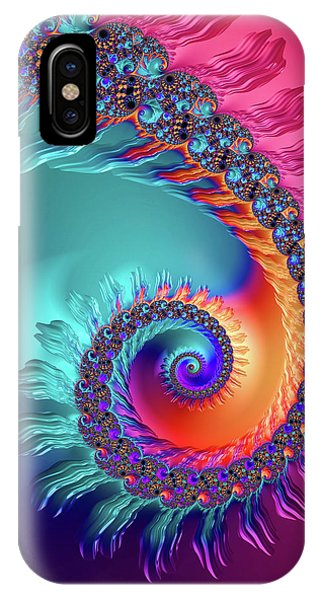 Vibrant And Colorful Fractal Spiral  IPhone Case