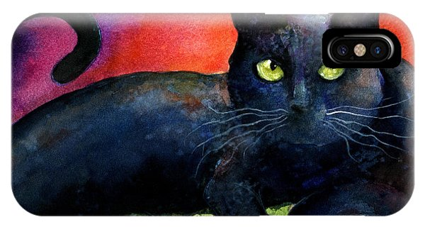 Vibrant Black Cat Watercolor Painting  IPhone Case