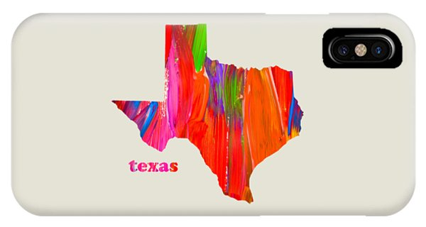 Vibrant Colorful Texas State Map Painting IPhone Case