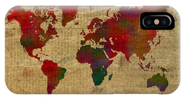 Flammable iPhone Case - Vibrant Map Of The World In Watercolor On Old Sheet Music And Newsprint by Design Turnpike