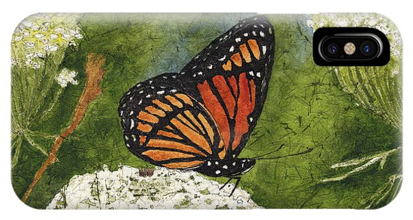Viceroy Butterfly On Queen Anne's Lace Watercolor Batik IPhone Case