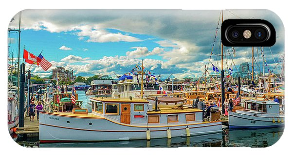 Victoria Harbor Old Boats IPhone Case